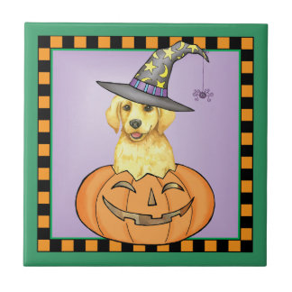 Yellow Lab Halloween Small Square Tile
