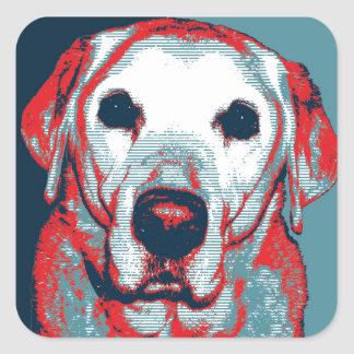 Yellow Lab Hope Political Parody Design Stickers