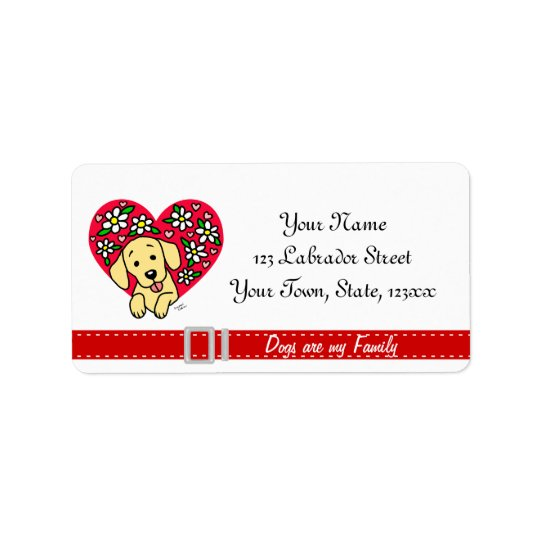 Yellow Lab Mum Cartoon Floral Heart Address Label