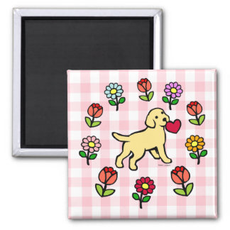 Yellow Lab Puppy and Red Heart Refrigerator Magnet