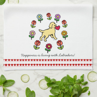 Yellow Lab Puppy and Red Heart Tea Towel
