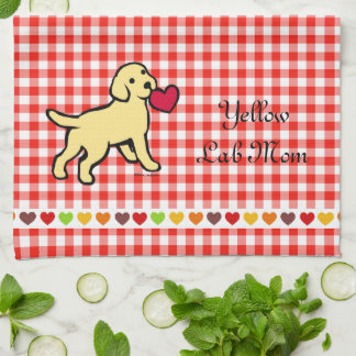 Yellow Lab Puppy and Red Heart Towel