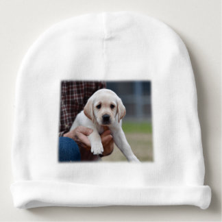 Yellow Lab Puppy Being Held By a Friend Baby Beanie