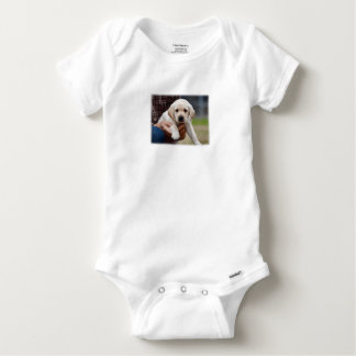 Yellow Lab Puppy Being Held By a Friend Baby Onesie