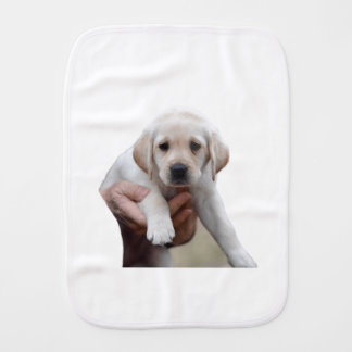 Yellow Lab Puppy Being Held By a Friend Burp Cloth
