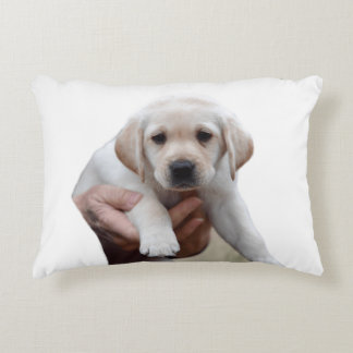 Yellow Lab Puppy Being Held By a Friend Decorative Cushion