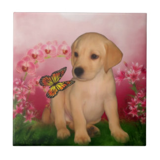 Yellow Lab Puppy Butterflies Dog Small Square Tile