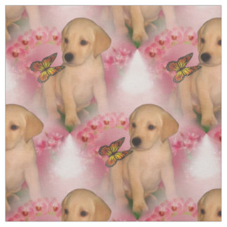 Yellow Lab Puppy Butterfly Animal Pattern Fabric