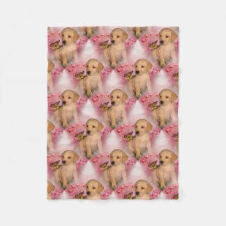 Yellow Lab Puppy Butterfly Animal Pattern Fleece Blanket
