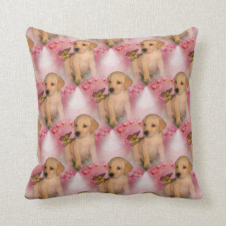Yellow Lab Puppy Butterfly Animal Pattern Throw Cushions