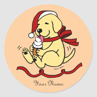 Yellow Lab Puppy Christmas Cartoon Stickers