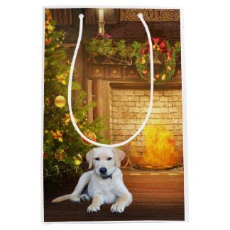 Yellow lab puppy Christmas Medium Gift Bag