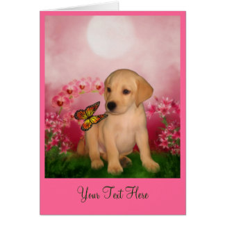 Yellow Lab Puppy Dog Art Photo Card
