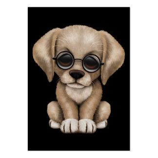 Yellow Lab Puppy Dog with Reading Glasses, black Business Cards