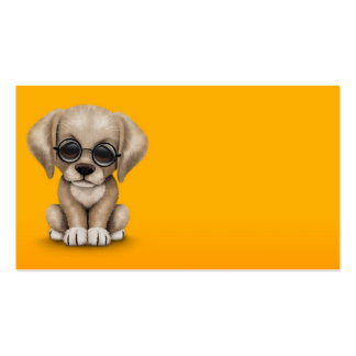 Yellow Lab Puppy Dog with Reading Glasses, yellow Business Cards