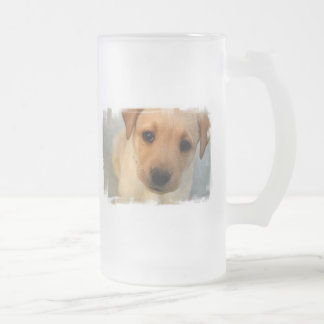 Yellow Lab Puppy Frosted Beer Mug