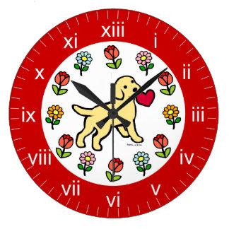 Yellow Lab Puppy Heart Cartoon Large Clock