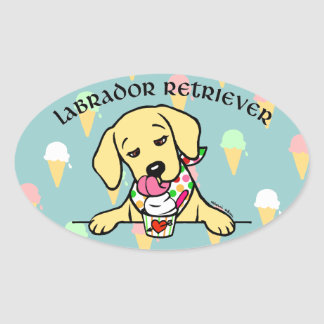 Yellow Lab Puppy Ice Cream Cartoon Oval Sticker