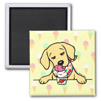 Yellow Lab Puppy Ice Cream Refrigerator Magnet