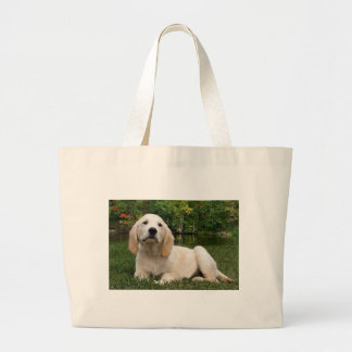 Yellow Lab Puppy in Fall Canvas Bags