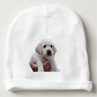 Yellow Lab Puppy In My Arms Baby Beanie