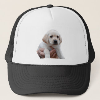 Yellow Lab Puppy In My Arms Trucker Hat