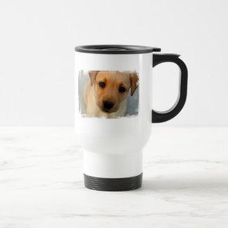 Yellow Lab Puppy Plastic Travel Mug
