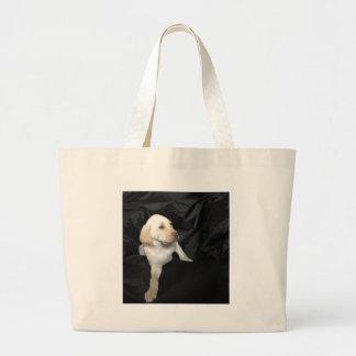 Yellow lab puppy Sadie Large Tote Bag