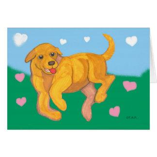 Yellow Lab Puppy Valentine Greeting Card