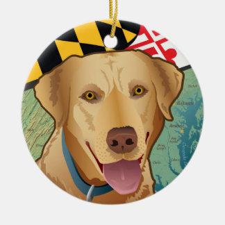 Yellow Lab Retriever of Maryland Ceramic Ornament