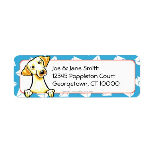 Yellow Lab Sailboats Blue Return Address Label