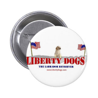 Yellow Lab with Flags Pinback Button