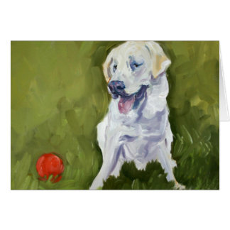 Yellow Lab with Red Ball Card