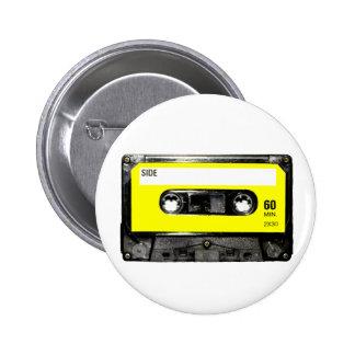 Yellow Label Vintage Cassette Button