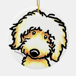 Yellow Labradoodle Art Personalized Ceramic Ornament