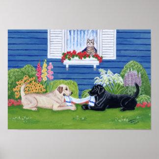 Yellow Labrador and Black Labrador in the Garden Poster
