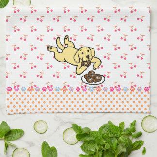 Yellow Labrador and Doughnuts Tea Towel