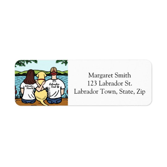 Yellow Labrador and Mum and Dad Long Return Address Label