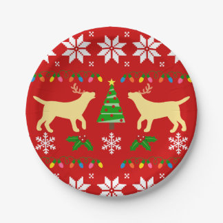 Yellow Labrador Antlers Christmas Paper Plate