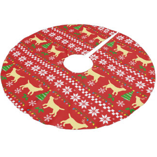 Yellow Labrador Antlers Ugly Christmas Pattern Brushed Polyester Tree Skirt