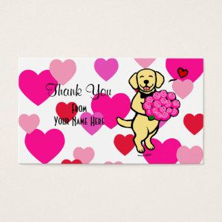 Yellow Labrador Cartoon Roses Thank You Business Card