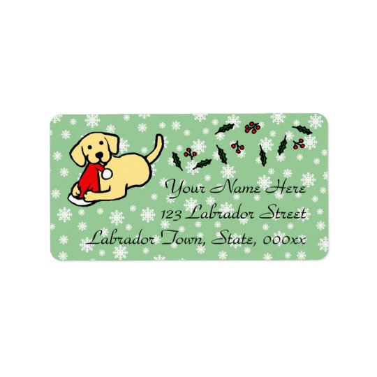 Yellow Labrador Christmas Cartoon Address Label