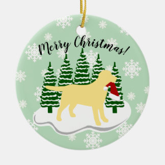 Yellow Labrador Christmas Evergreen Snowflakes Ceramic Ornament