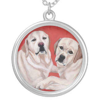 Yellow Labrador Duo Painting Necklaces