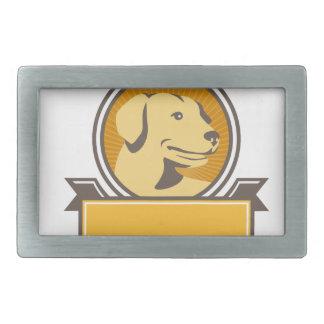 Yellow Labrador Golden Retriever Head Circle Retro Belt Buckles