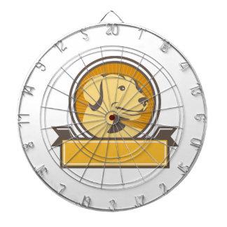 Yellow Labrador Golden Retriever Head Circle Retro Dartboard