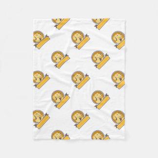 Yellow Labrador Golden Retriever Head Circle Retro Fleece Blanket