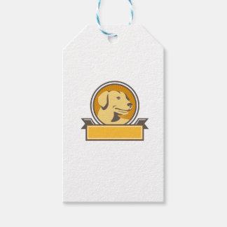 Yellow Labrador Golden Retriever Head Circle Retro Gift Tags