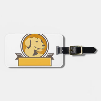 Yellow Labrador Golden Retriever Head Circle Retro Luggage Tag