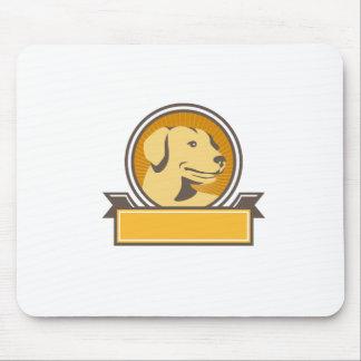 Yellow Labrador Golden Retriever Head Circle Retro Mouse Pad